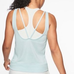 Athleta Serenity V-Back Tank Light Blue/Mint SZ L